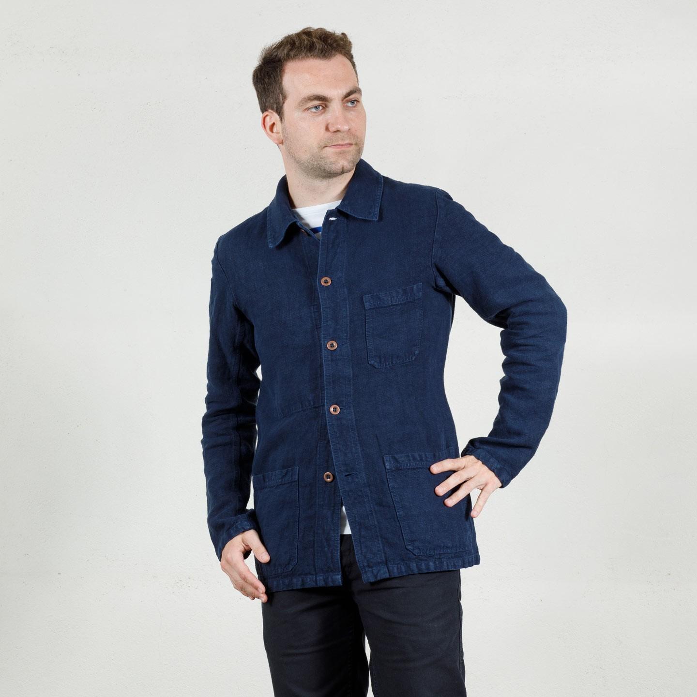 Short Jacket in heavy linen fabric 2L/5C Veste courte en tissu lourd de lin 2L/5C navy