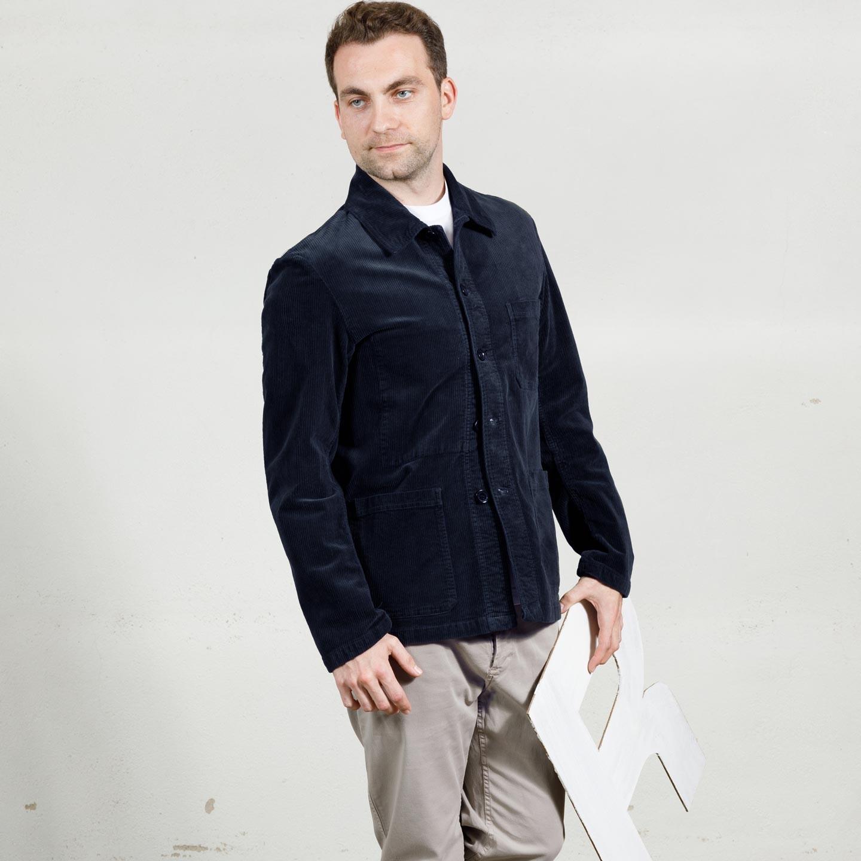 Soft Corduroy Workwear Jacket 2B/5 navy