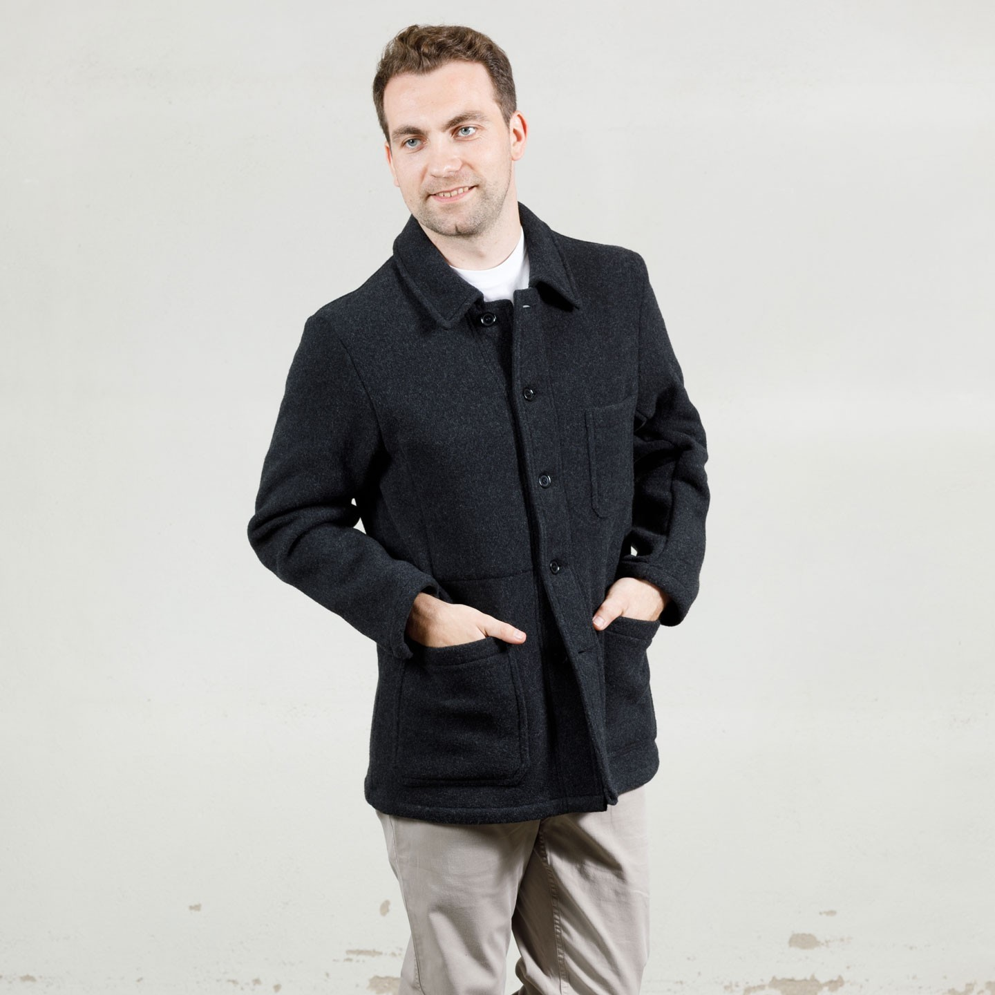 Double-face Melton jacket wool 5F/4 anthracite
