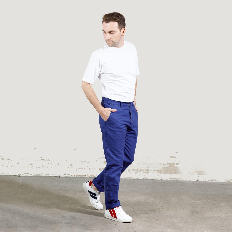 Pantalon à pinces workwear en croisé coton bio 1G/264 - Hydrone