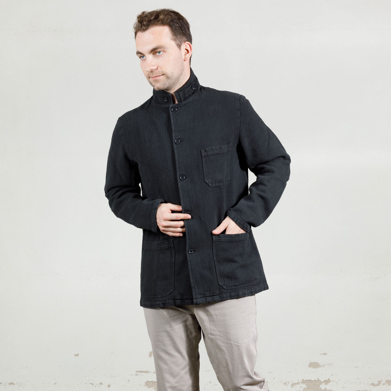 Officer Collar Jacket in herringbone fabric 1A/22