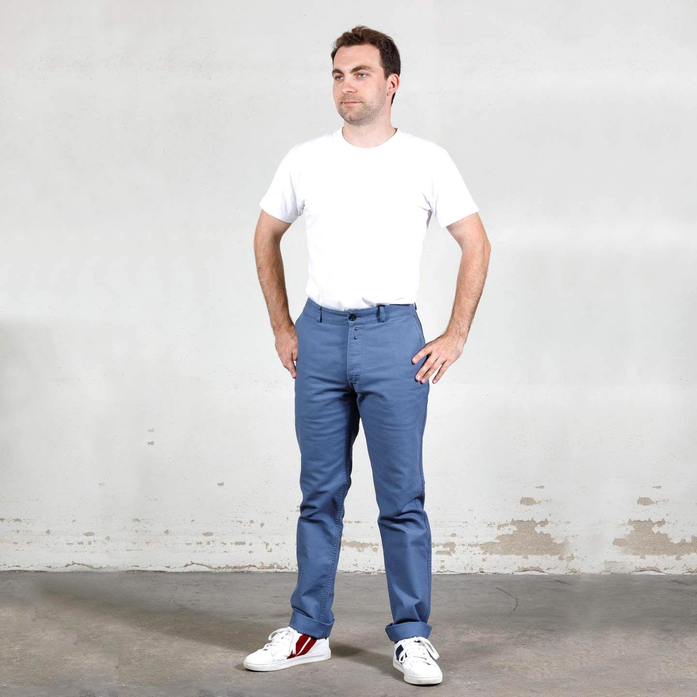 Pantalon workwear en croisé en coton bio 1G/256 postman