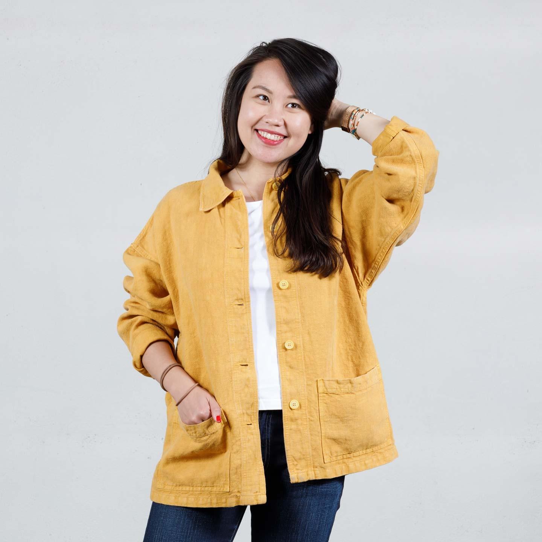 Woman's workwear jacket in heavy linen fabric 2L/6L corn